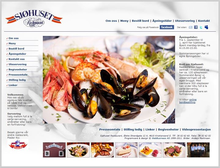 Sjøhuset Restaurant med nytt webdesign